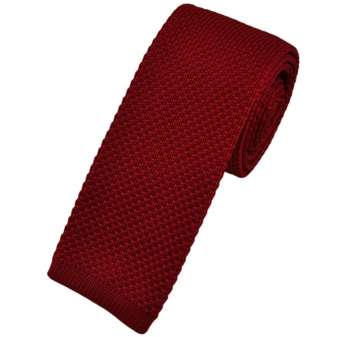 Plain Red Narrow Knitted Tie