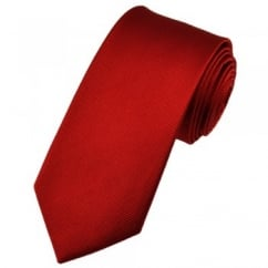 Plain Red Narrow Silk Tie