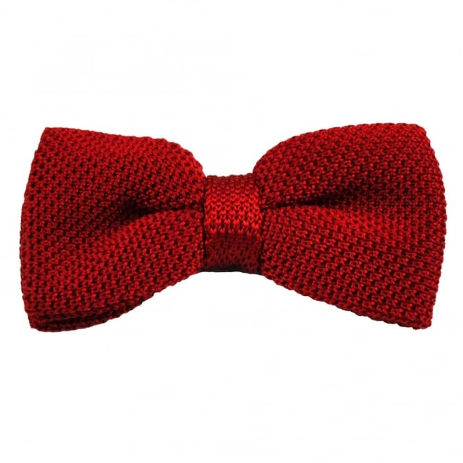 Plain Red Silk Knitted Bow Tie