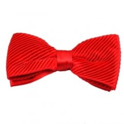Plain Red Silk Pleated Bow Tie