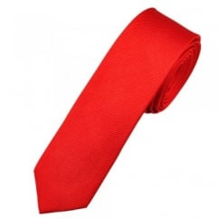 Plain Red Silk Skinny Tie