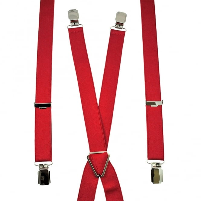 Plain Red Skinny Trouser Braces - Silver Clips