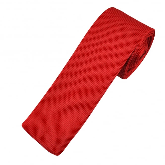 Plain Red Smooth Knitted Narrow Tie