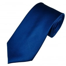 Plain Royal Blue Diagonal Ribbed Luxury Silk Tie