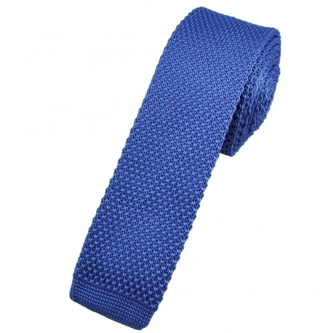 Plain Royal Blue Knitted Skinny Tie