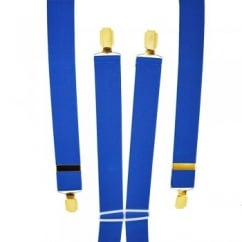 Plain Royal Blue Men's Trouser Braces - Gold Clips