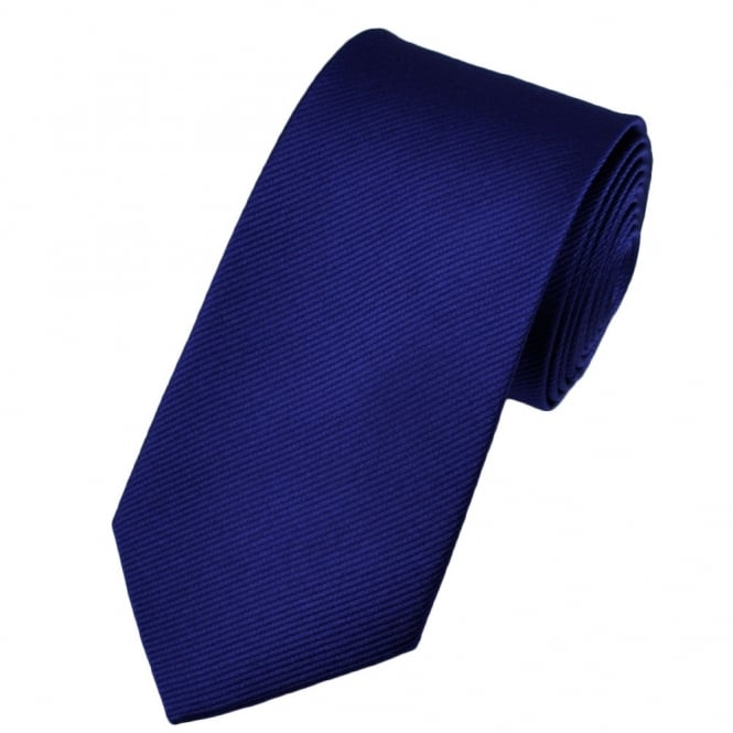 Plain Royal Blue Narrow Silk Tie