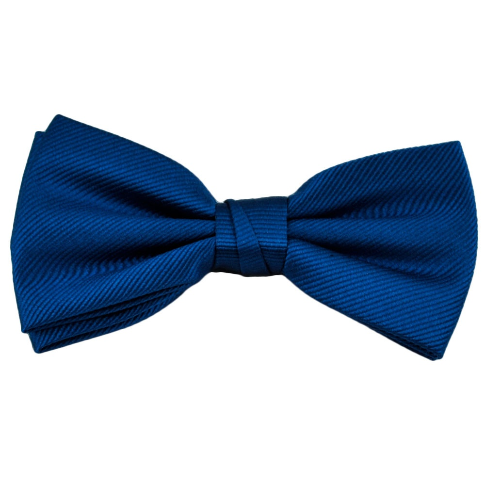 plain royal blue ribbed silk bow tie from ties planet uk