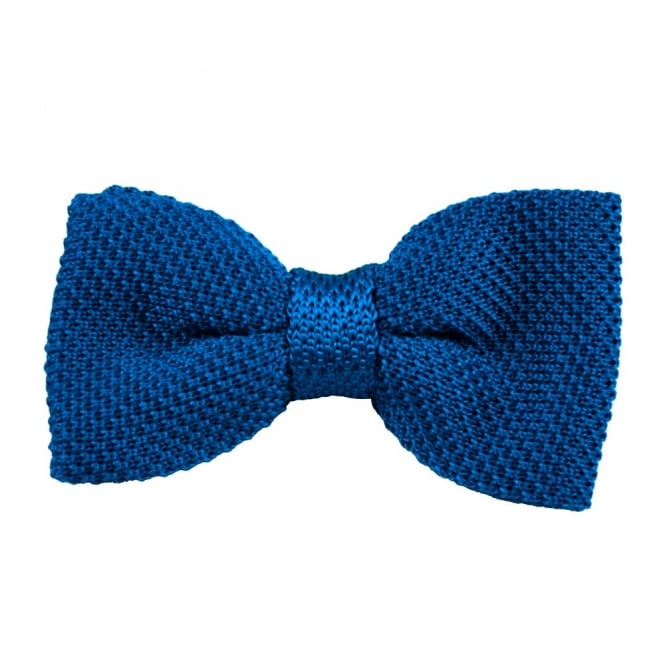 Plain Royal Blue Silk Knitted Bow Tie