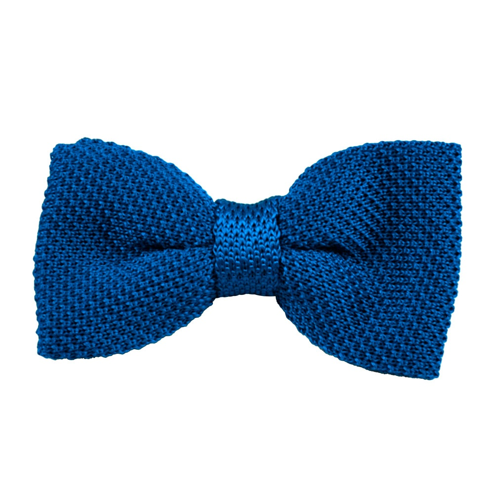 plain royal blue silk knitted bow tie from ties planet uk