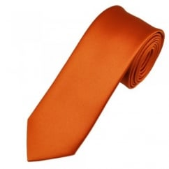 Plain Rust Orange 6cm Skinny Tie