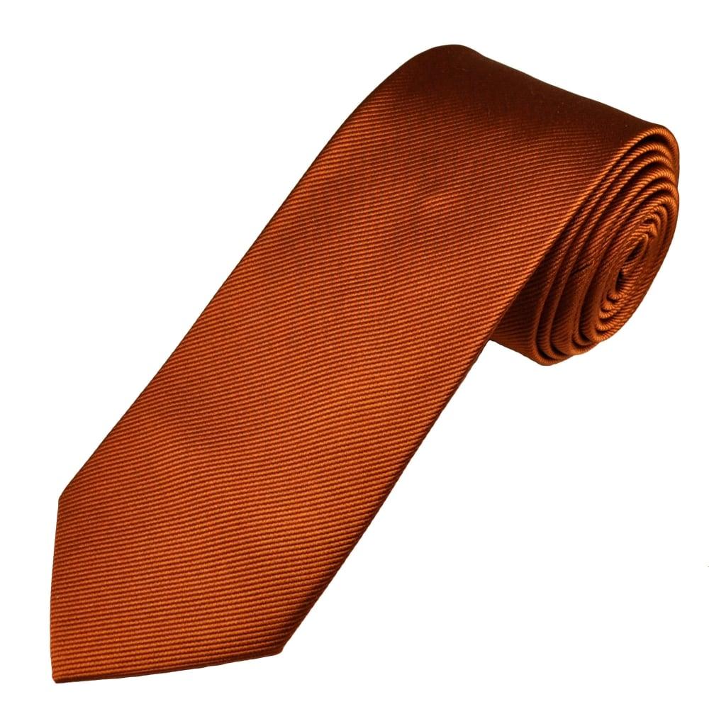 Plain Rust Orange Men039s Silk Tie