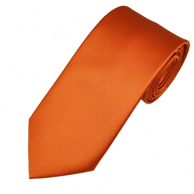 Plain Rust Orange Satin Tie