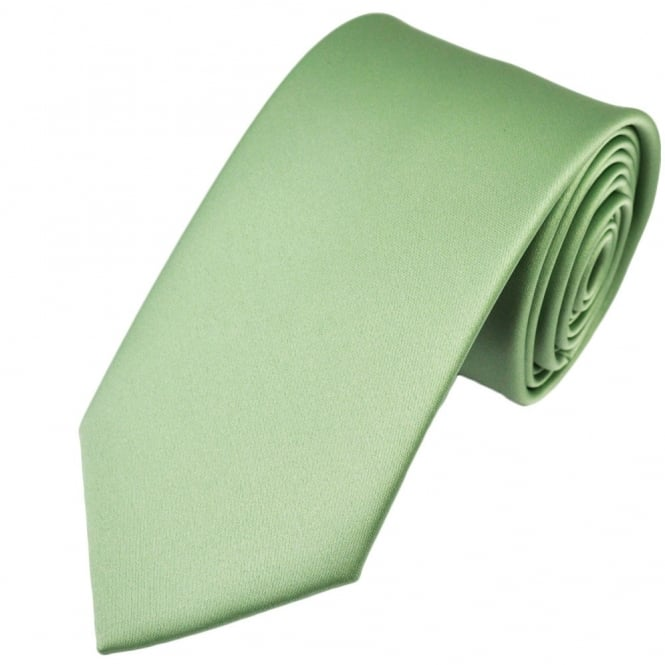 Plain Sage Green Satin Tie