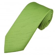 Plain Sage Green Shantung Slub Design Men's Tie