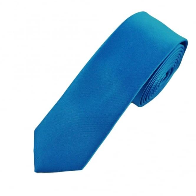 plain sapphire blue boys skinny tie