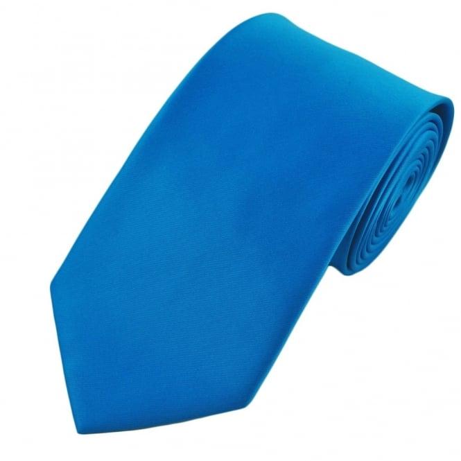 plain sapphire blue satin tie