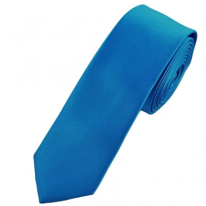 plain sapphire blue skinny tie