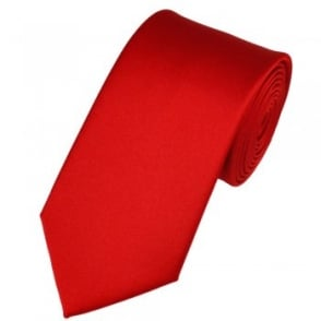 Plain Scarlet Red Satin Tie