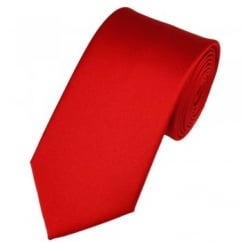 Plain Scarlet Red Satin Tie