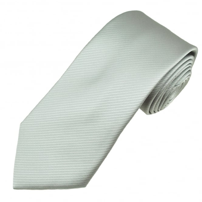 Plain Silver Double Ribbed Patterned Men's Tie
