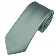 Plain Silver-Grey Satin Tie