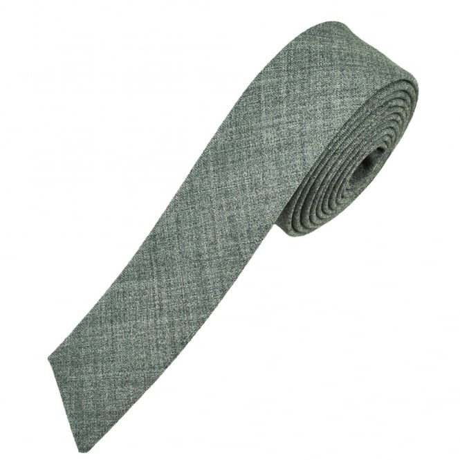 Plain Silver Grey Ultra Skinny Diagonal End Skinny Tie