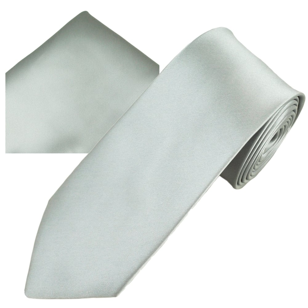 89a6bf819868 Plain Silver Men's Skinny Tie & Pocket Square Handkerchief Set from Ties  Planet UK