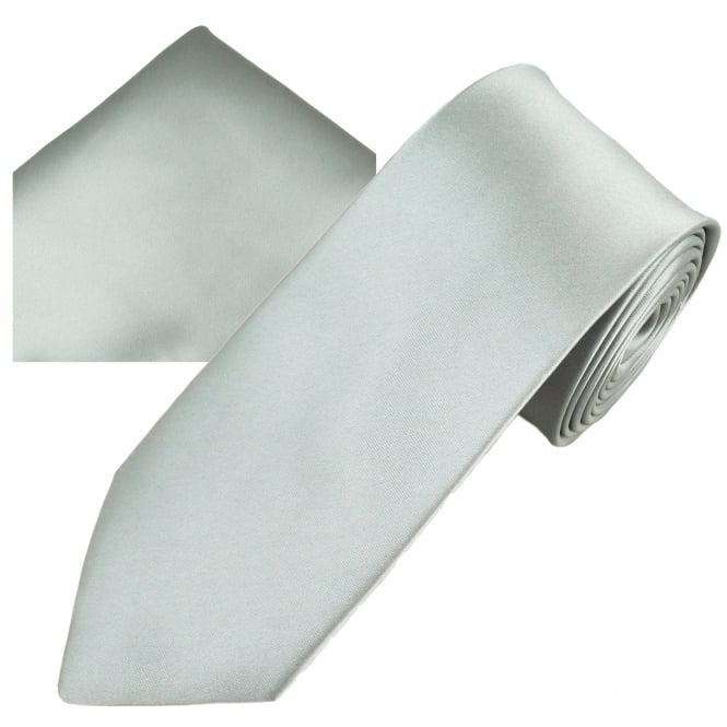 Plain Silver Men's Skinny Tie & Pocket Square Handkerchief Set