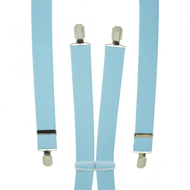 Plain Sky Blue Men's Trouser Braces - Silver Clips