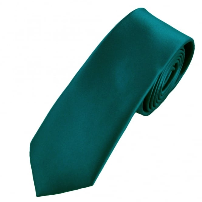 Plain Teal Green Boys Skinny Tie