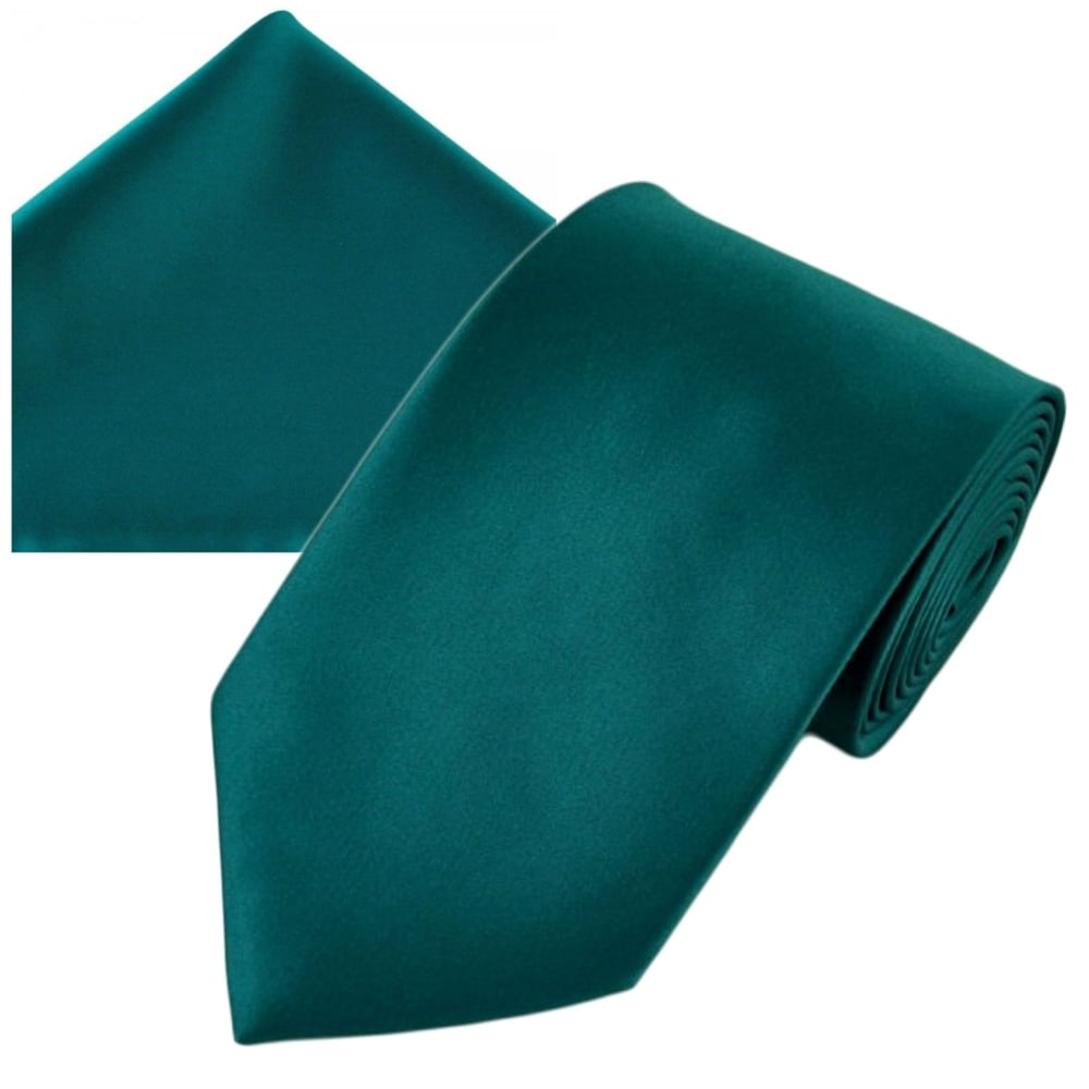 cbf243b7002b Plain Teal Green Men's Satin Tie & Pocket Square Handkerchief Set from Ties  Planet UK