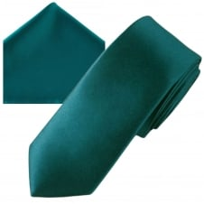 Plain Teal Green Men's Skinny Tie & Pocket Square Handkerchief Set