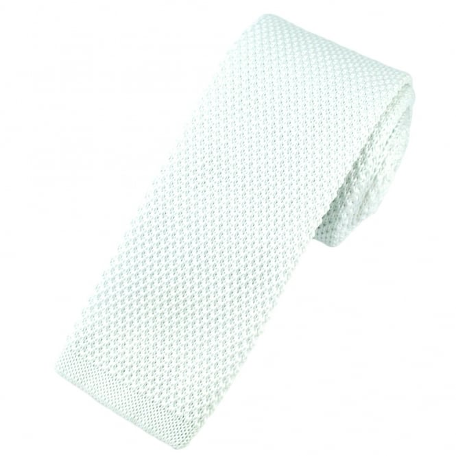 Plain White Knitted Skinny Tie
