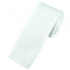 Plain White Knitted Skinny Tie