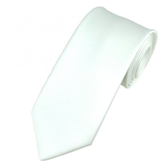 Plain White Men's Satin Tie