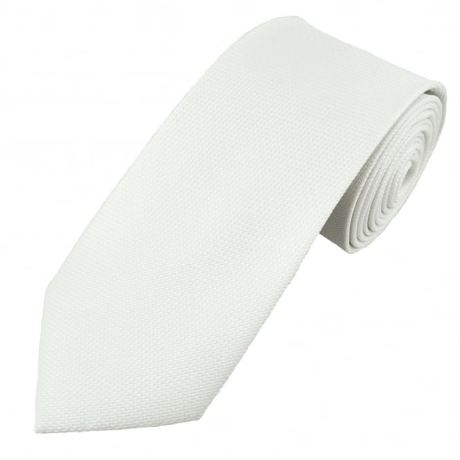 Plain White Self Patterned Men's Tie