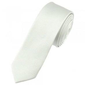 Plain White Silk Skinny Tie