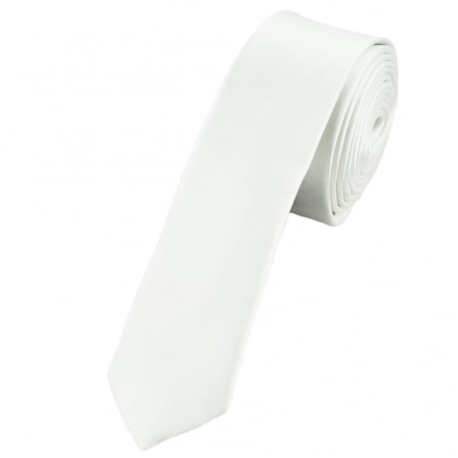 Plain White Super Skinny Tie