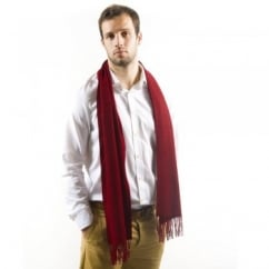 Plain Wine Red 100% Lambswool Scarf