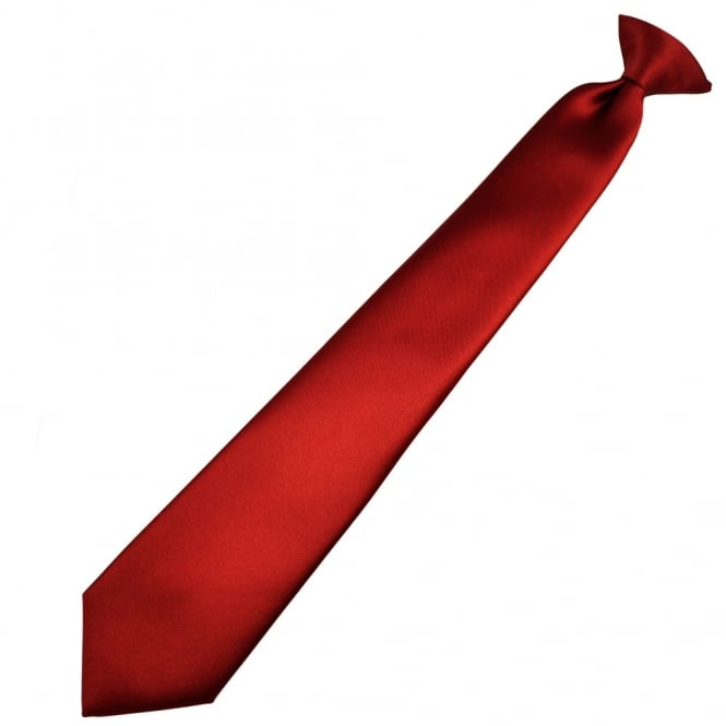 Plain Wine Red Clip-On Tie