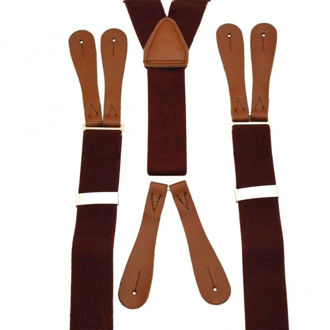 Plain Wine Red High Back Leather End Trouser Braces