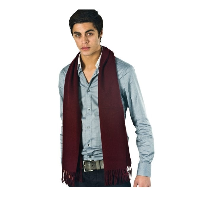 Plain Wine Red Men's 100% Wool Scarf