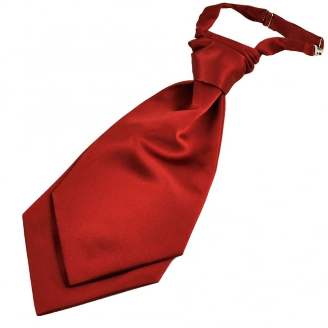 Plain Wine Red Men's Scrunchie Ruche Wedding Cravat
