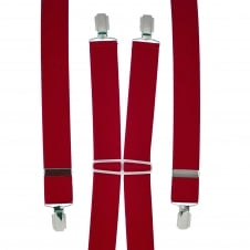 Plain Wine Red Men's Trouser Braces