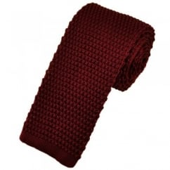 Plain Wine Red Narrow Knitted Tie