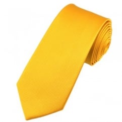 Plain Yellow Narrow Silk Tie