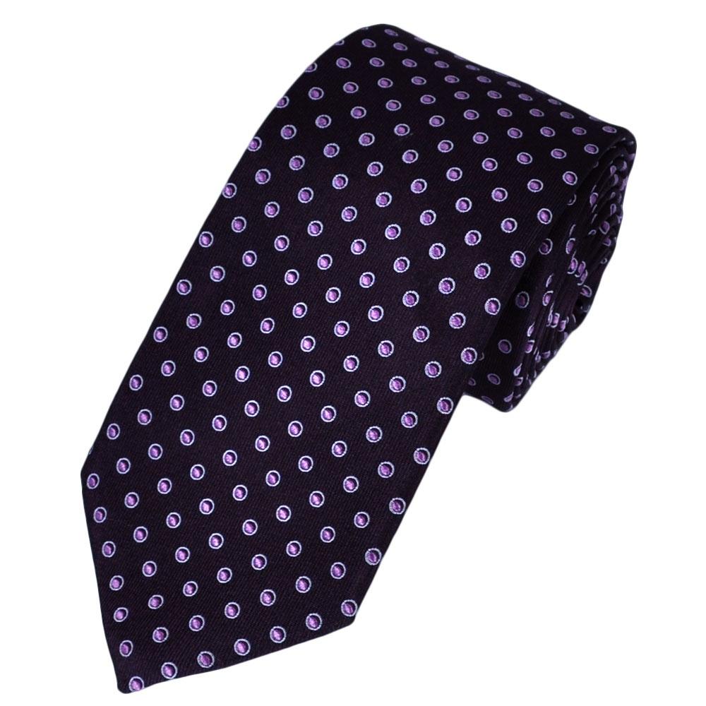 plum lilac lavender circle patterned silk designer tie