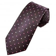 Plum, Pink & Silver Polka Dot Men's Extra Long Tie