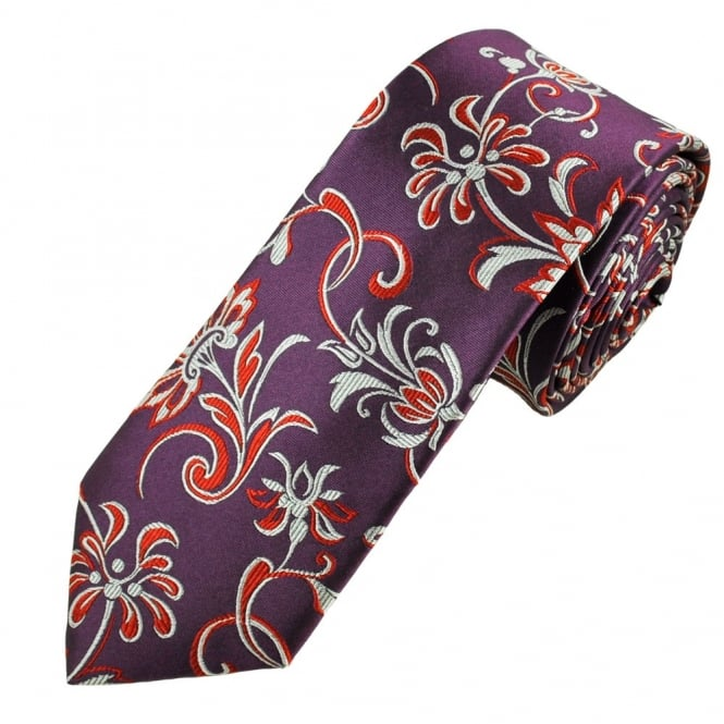 Plum, Red & Silver Floral Patterned Luxury Narrow Silk Tie